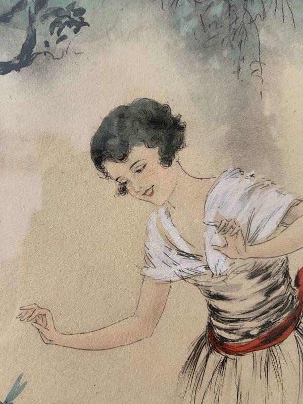 ancienne gravure art deco naudy femme libellules