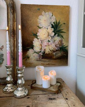 ancienne huile sur toile de fleurs pivoines vers 1900