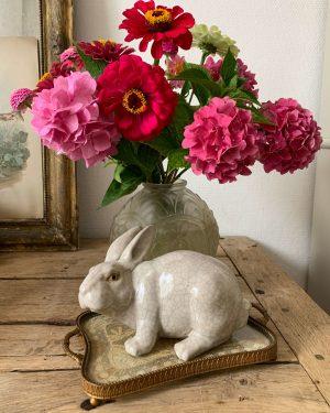 ancien lapin en céramique craquelée art déco
