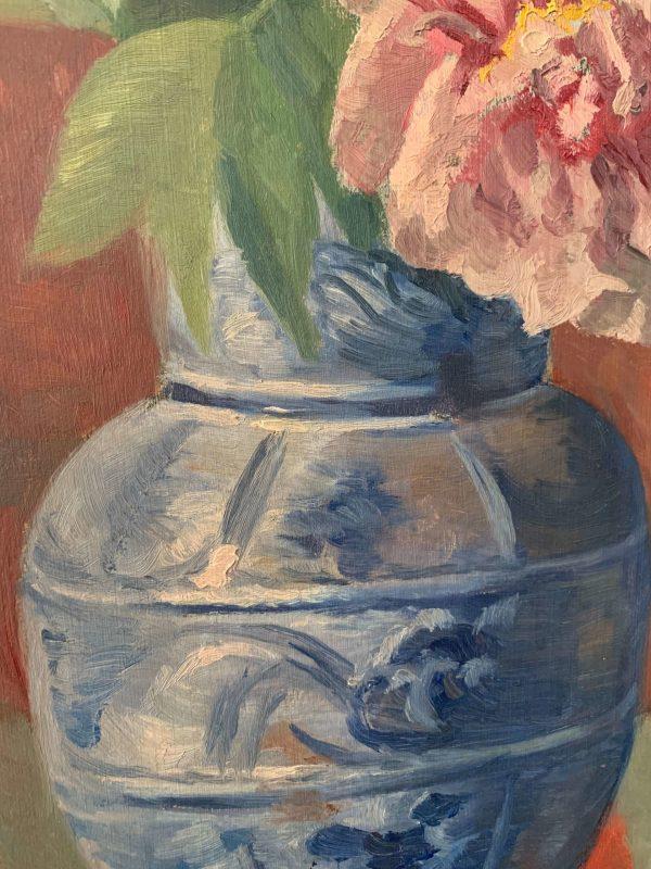 ancienne peinture à l'huile fleurs debut xxeme