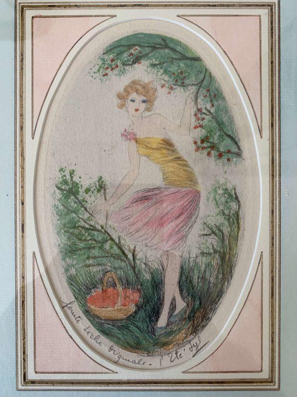 anciennes gravures pointe seche de femmes 4 saisons SYL