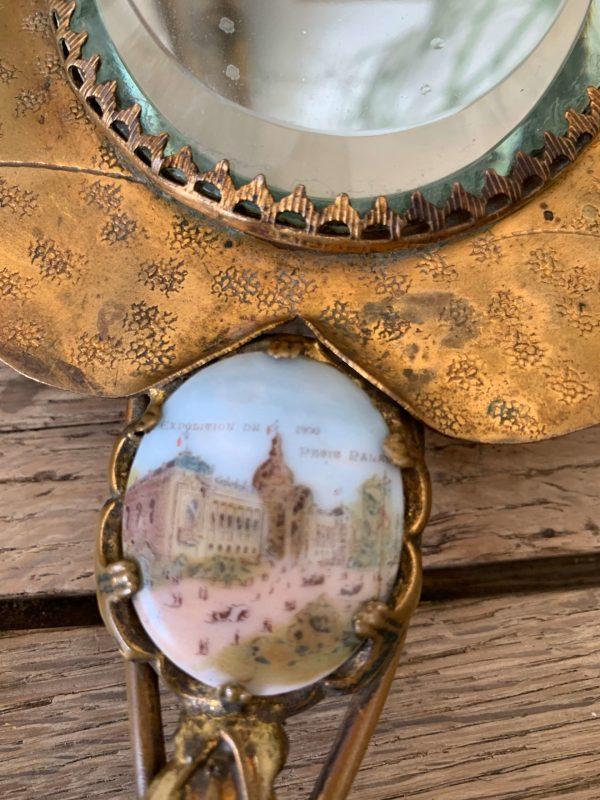 ancien miroir face à main art nouveau miniature exposition paris 1900