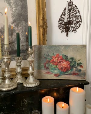 ancienne huile sur toile de roses vers 1900