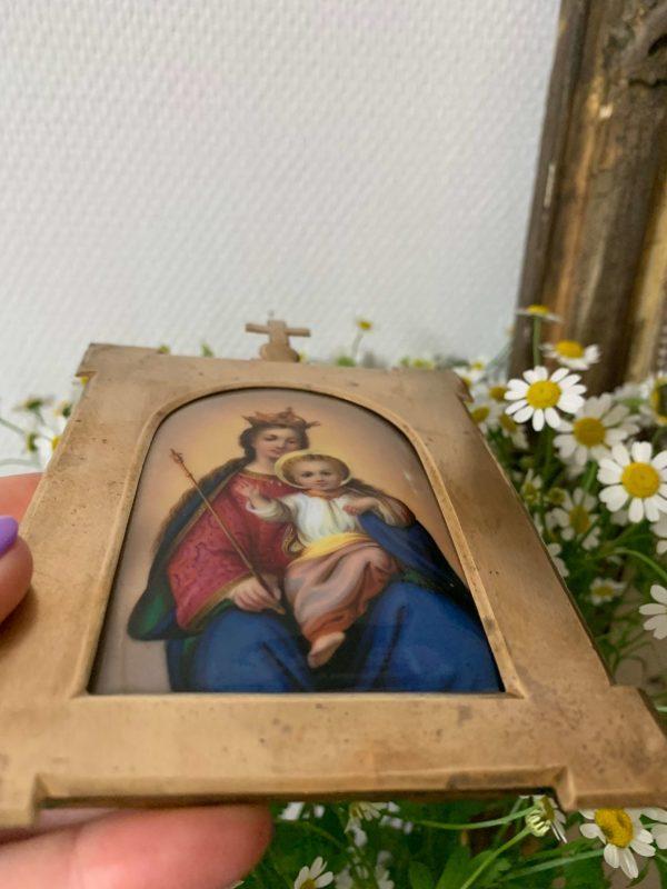 ancien autel de voyage vierge à l'enfant porcelaine xixeme