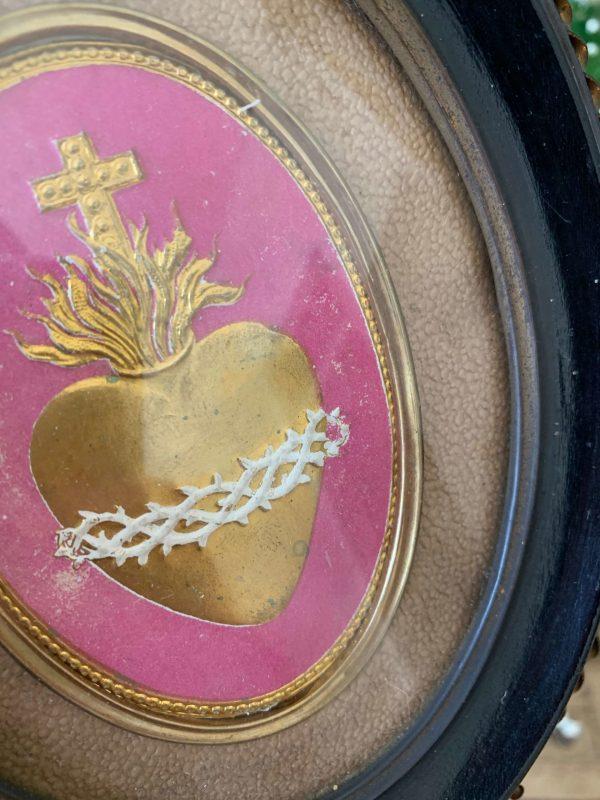 ancien cadre ex voto image pieuse sacré coeur de jesus xixeme