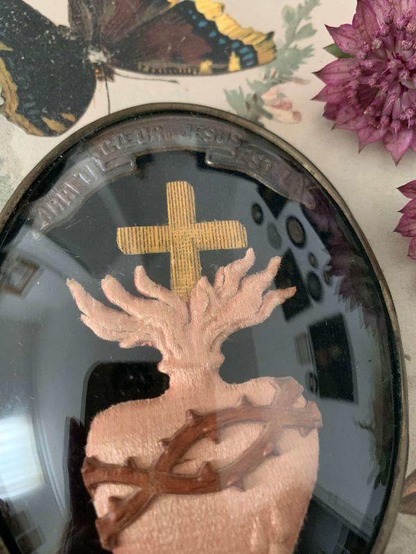 ancien médaillon coeur reliquaire ex voto xixeme