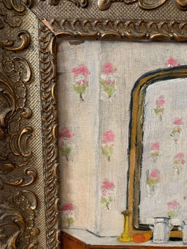 ancienne peinture à l'huile scène d'intérieur