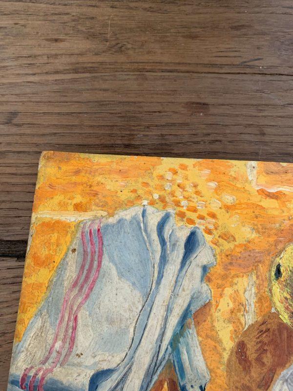 ancienne nature morte huile sur carton