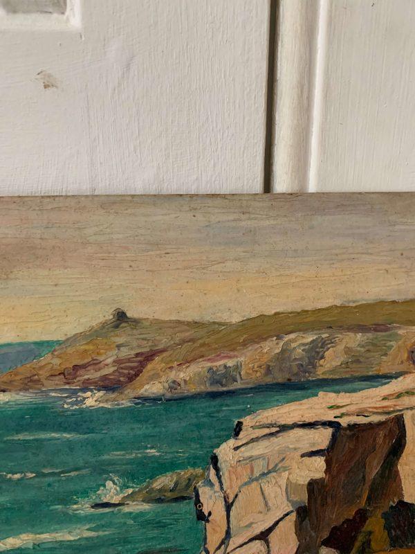 ancienne peinture à l'huile quiberon