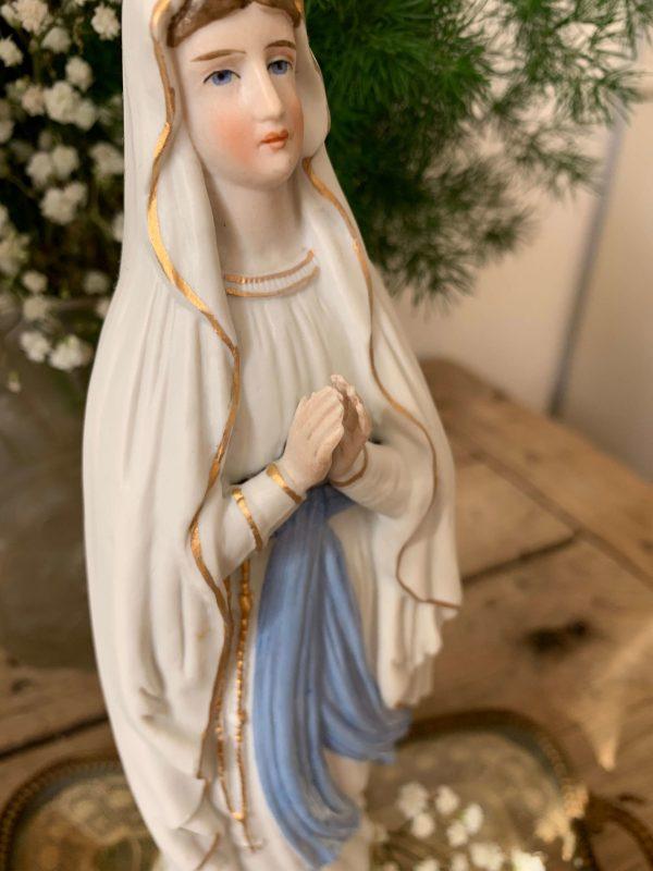 ancienne statuette notre dame de lourdes biscuit polychrome