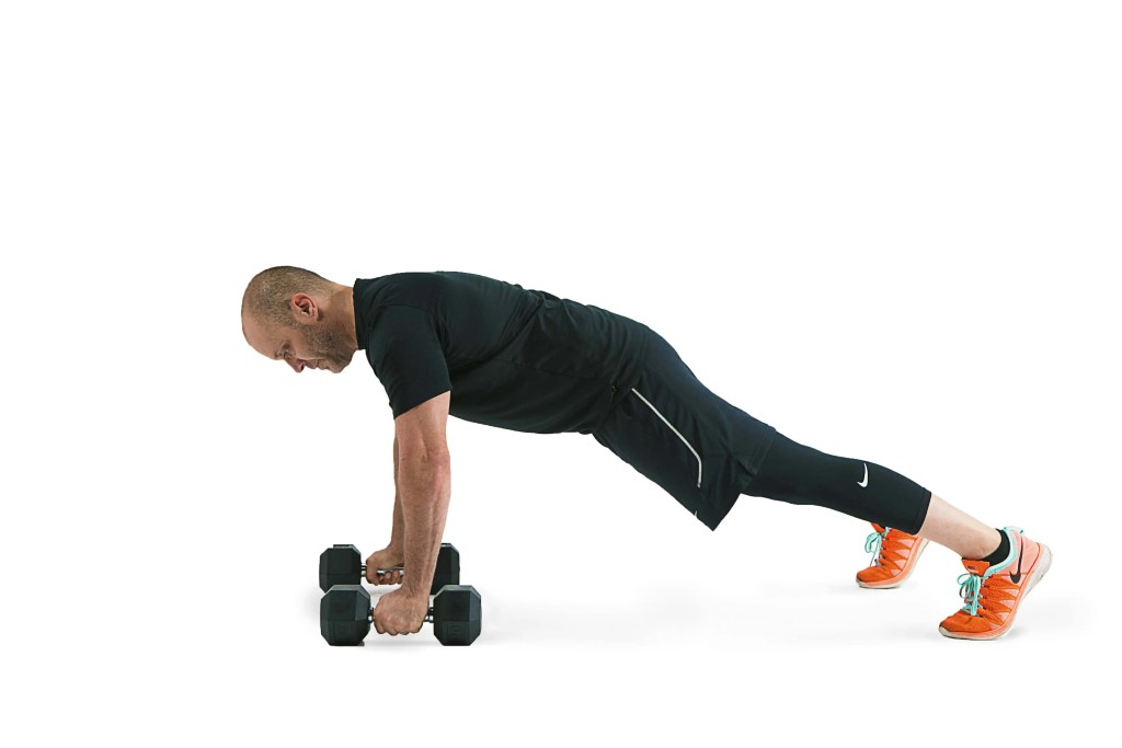 Close-stance dumbbell push ups