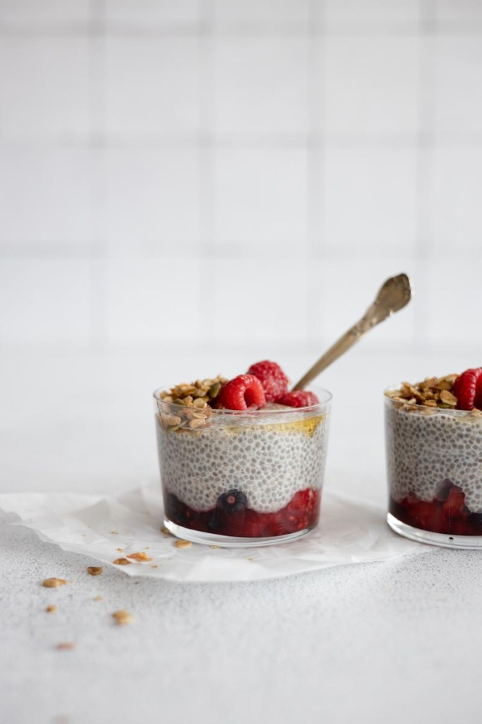 Chia seed pudding with macerated berries