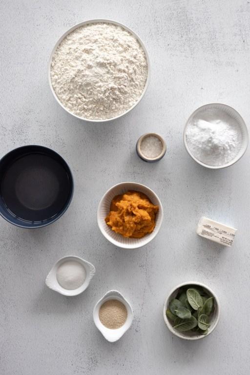 Ingredients for Pumpkin Sage Pretzels