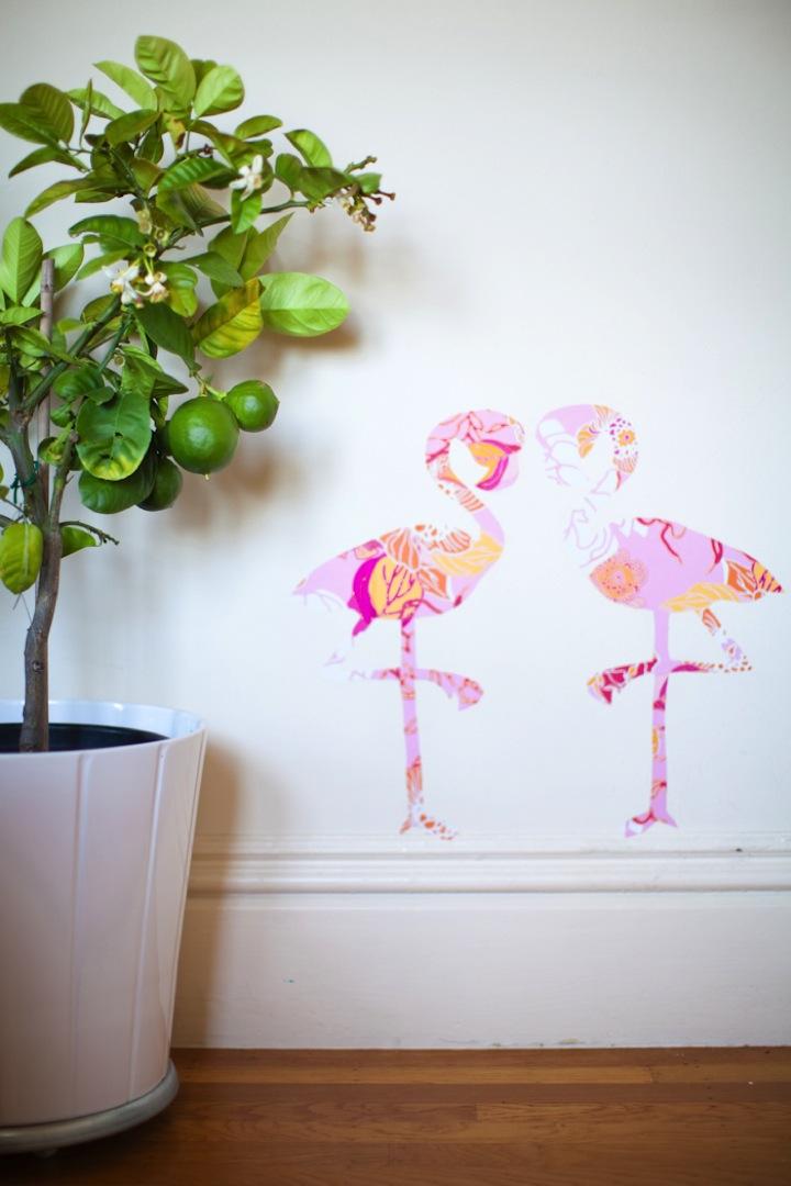 Flamant rose deco murale en papier peint