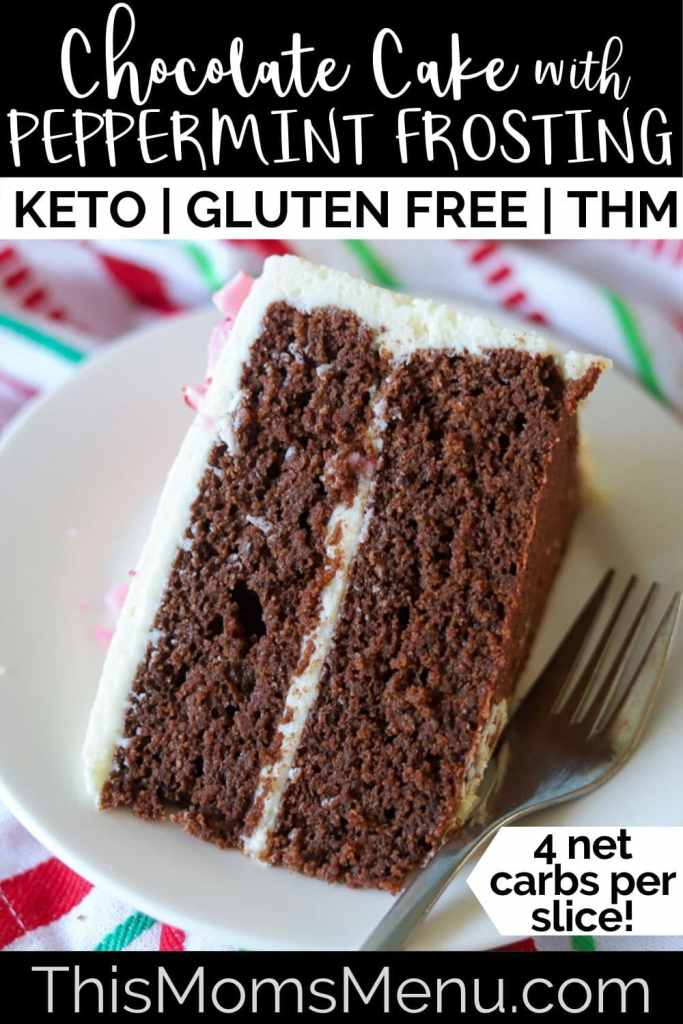 A slice of keto chocolate cake with text overlay