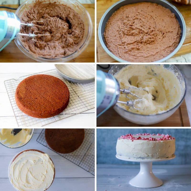 a six image collage showing the steps for making a keto Christmas dessert cake