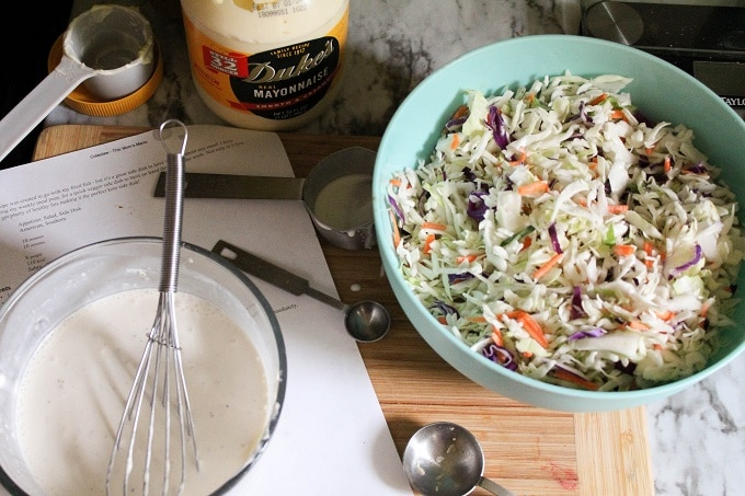 Assembly of low carb coleslaw