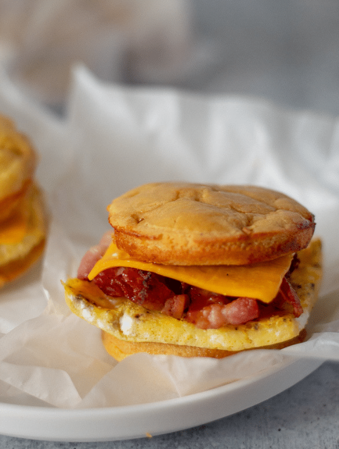 Bacon, Egg, and cheese Keto McGriddle on a white plate