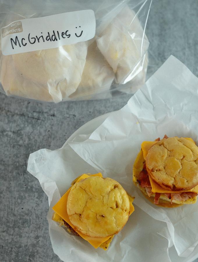 keto McGriddles in a freezer bag