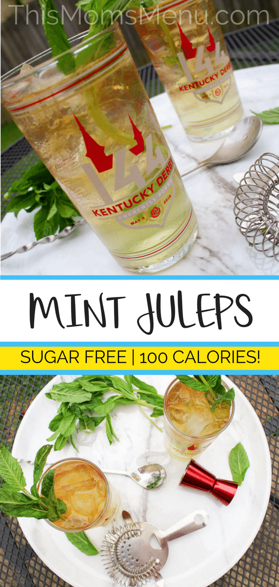 The Mint Julep has been the traditional beverage of the Kentucky Derby and Churchill Downs for almost a century. You can join in the festivities completely guilt free with this Mint Julep recipe. It's completely sugar free, has only about 100 calories and zero carbs! #kentuckyderby #derbyparty #sugarfreecocktail #bourbon