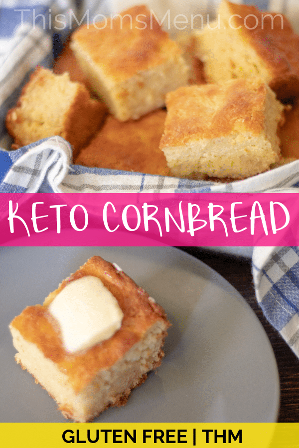 Keto Recipe! Enjoy this slightly sweet Keto Cornbread warm and smeared with butter for a delicious bread that will go great with all your favorite comfort foods. #ketorecipe #glutenfree #glutenfreerecipe #lowcarb