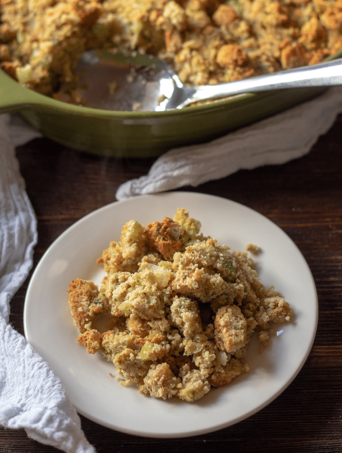 This Keto recipe for stuffing is just what your thanksgiving spread needs! You won't believe how much this tastes like the real thing! #keto #thankgiving #thismomsmenu