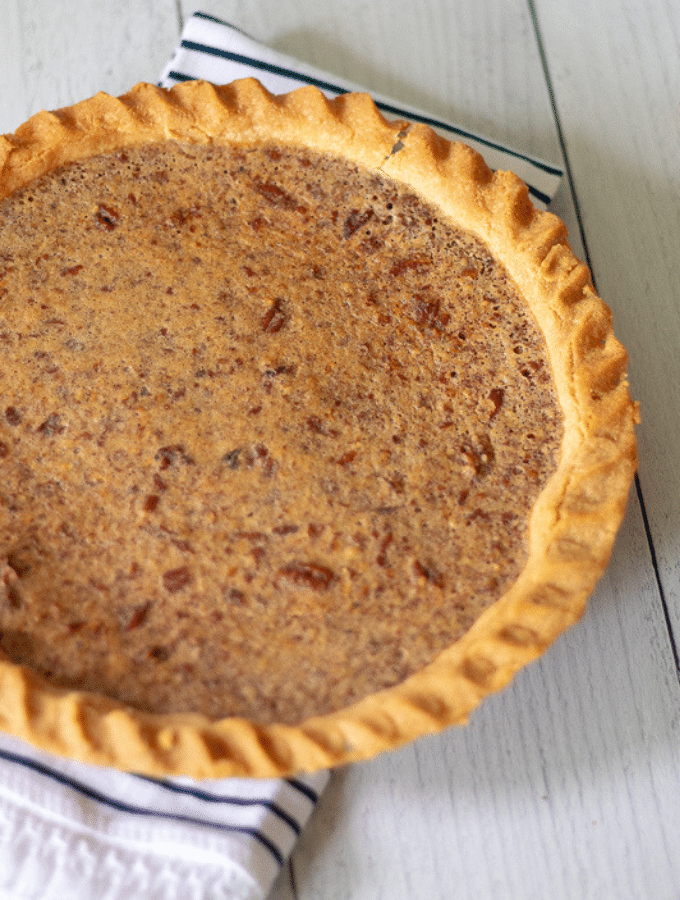 A full, unsliced keto Kentucky derby pie