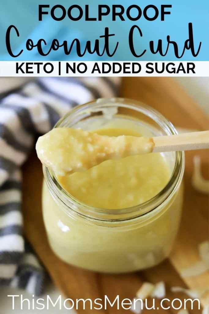 sugar-free coconut curd in a mason jar with a wooden spoon.