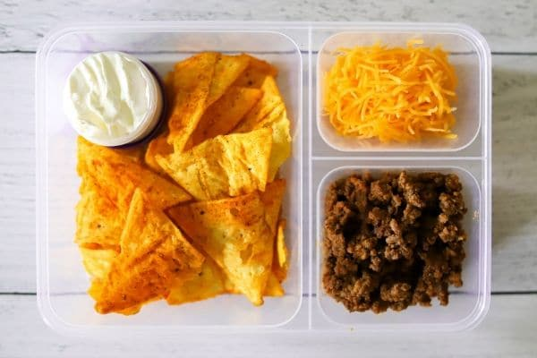 a kids lunch box with low carb nachos