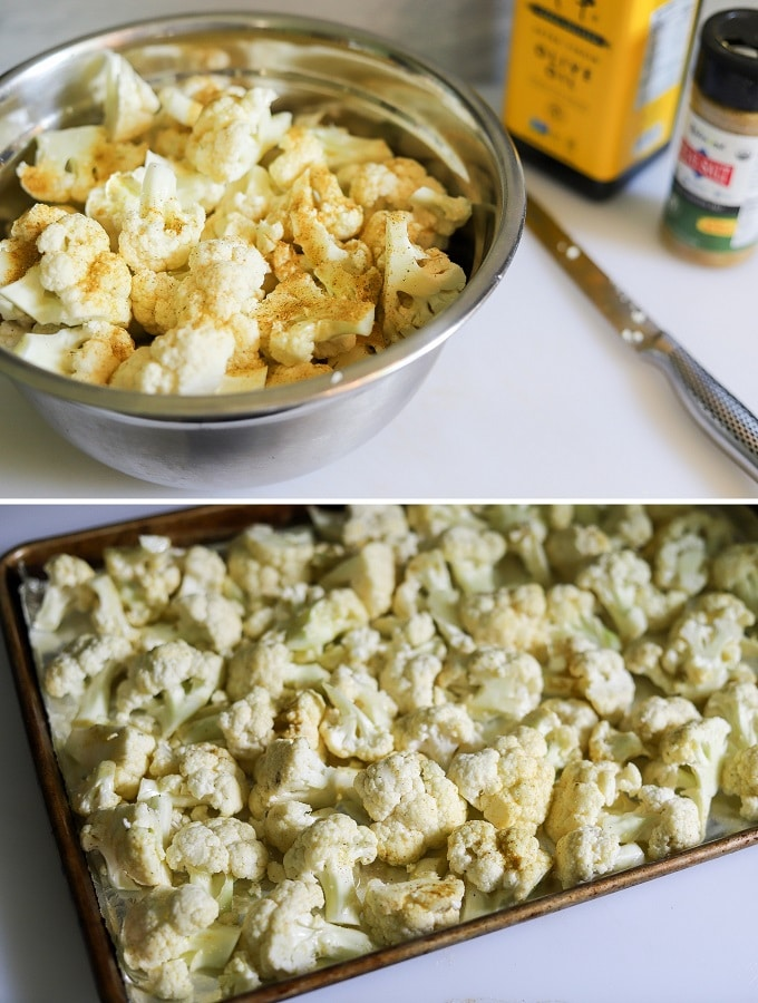 A two photo collage showing the steps for making keto loaded cauliflower on a sheet pan