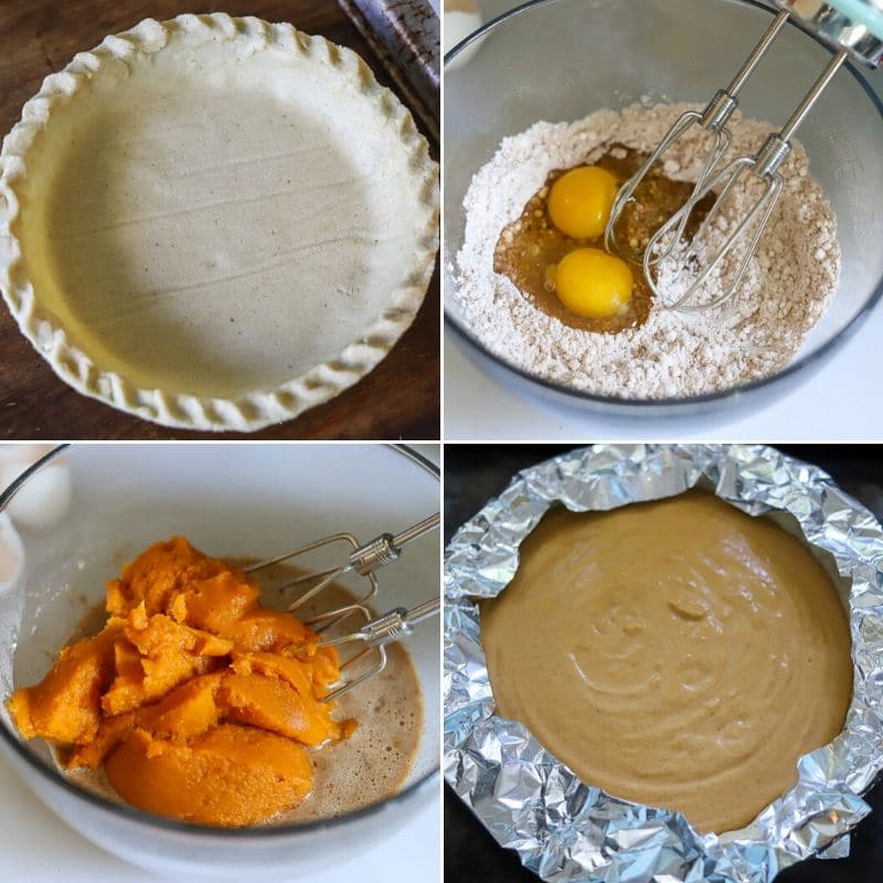 a four photo collage showing the steps for making low carb pumpkin pie