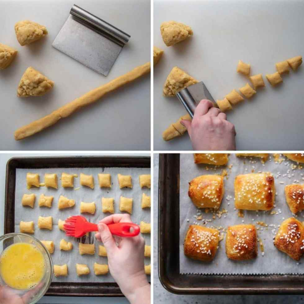 a four image photos collage showing the last 4 steps for making keto soft pretzels.