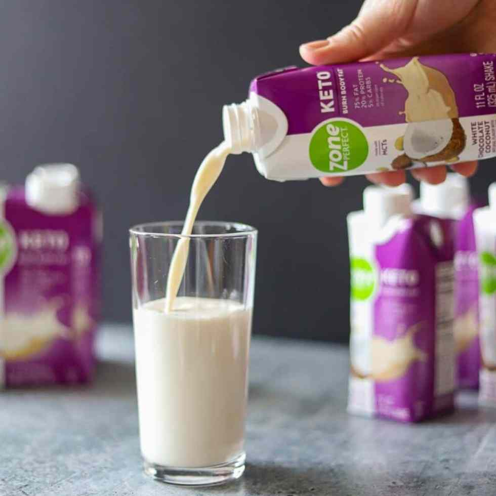 ZonePerfect keto Shake being poured into a glass