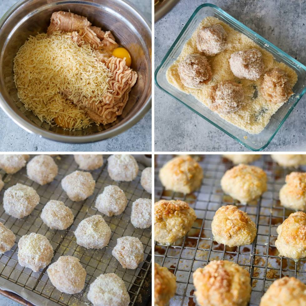 a four image collage showing the steps for making chicken parmesan meatballs