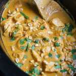 a black crockpot full of Thai peanut curry