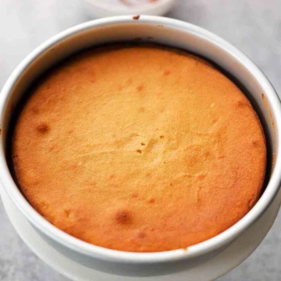 yellow cake on a cake pan