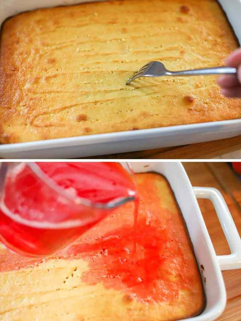a two image collage showing a cake being saturated with gelatin.