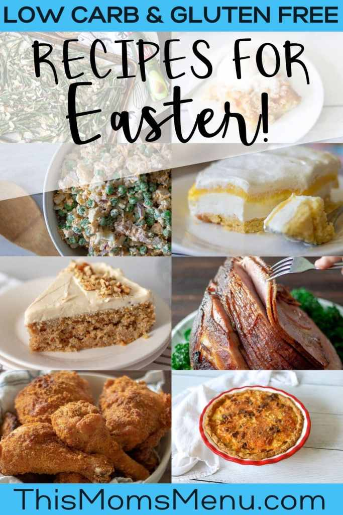 a photo collage of keto easter recipes with text overlay