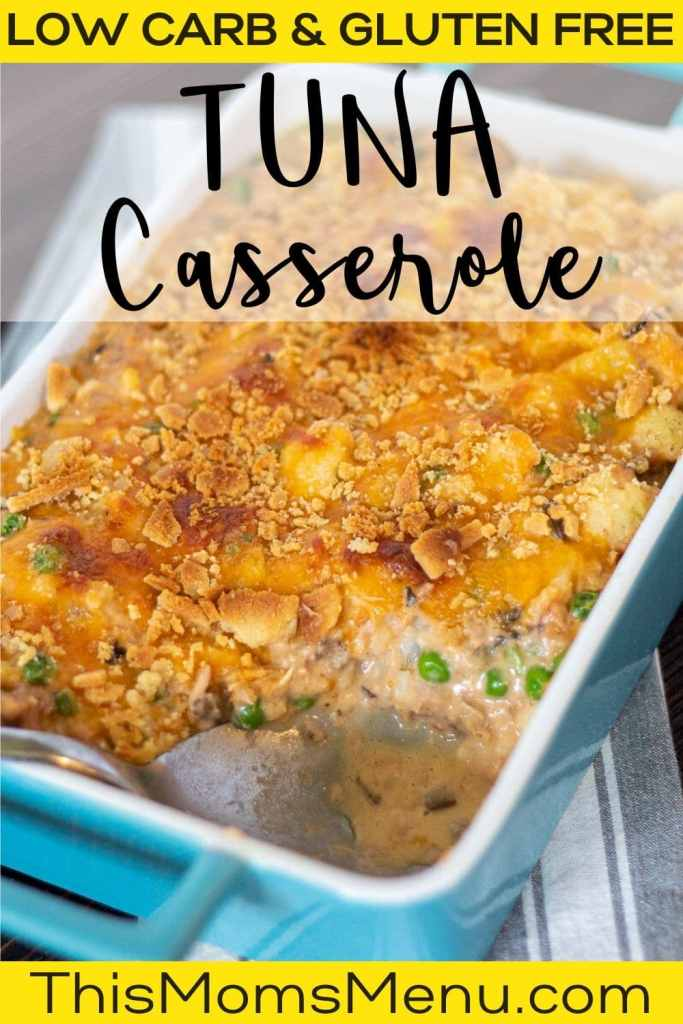Tuna casserole with cauliflower in a blue baking dish with text overlay
