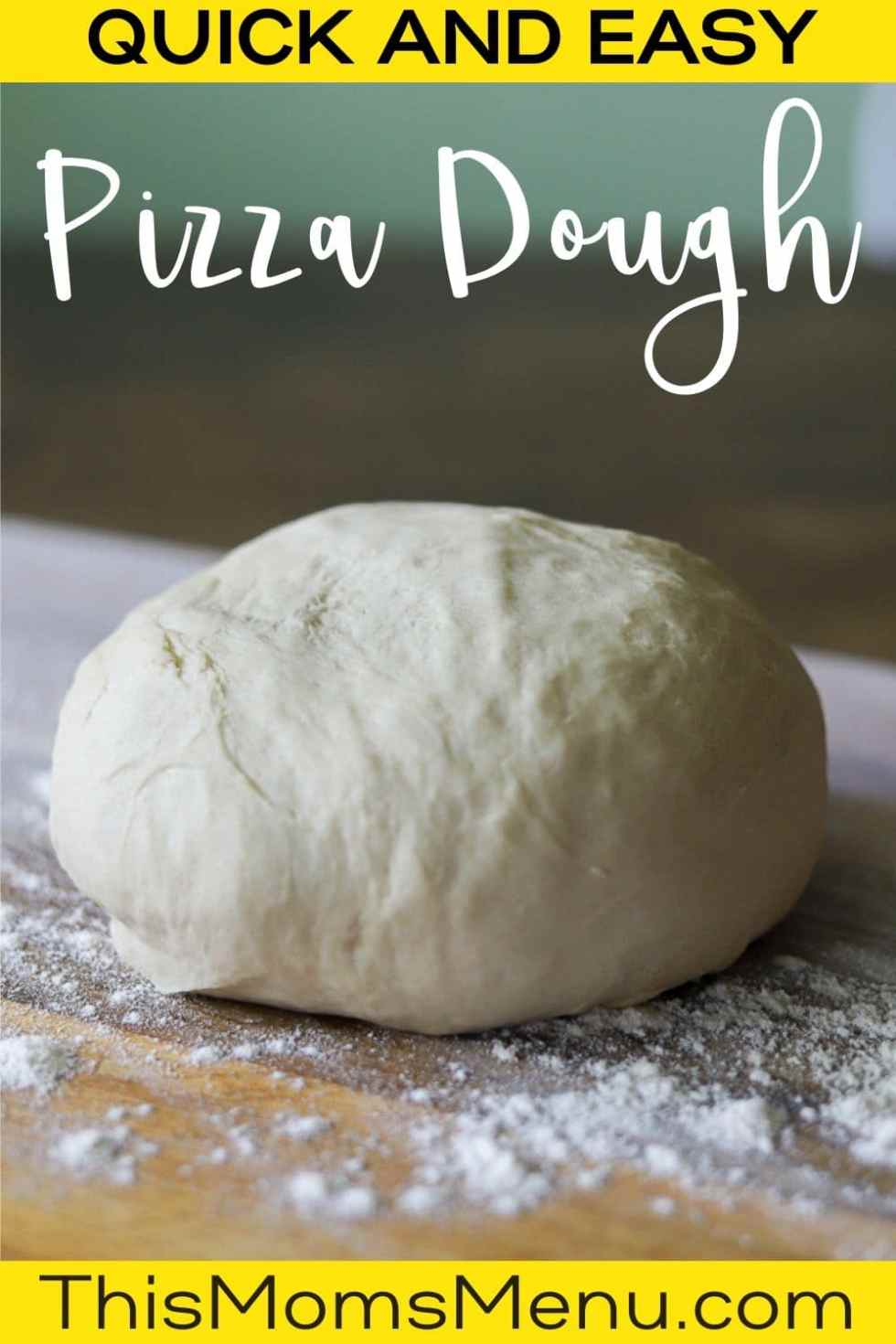 a ball of pizza dough on a floured wooden cutting board with text overlay