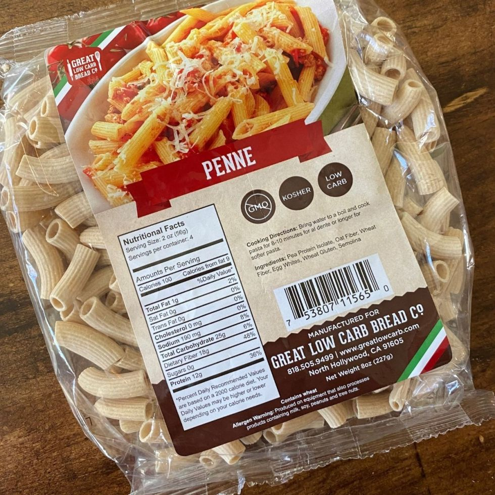 Low Carb Pasta in a package on a wooden table