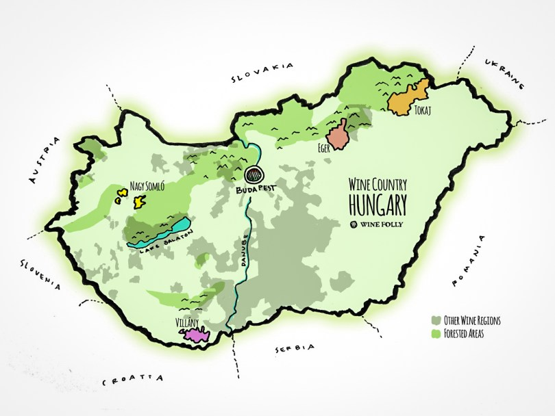Hand-drawn map of Hungary's wine regions