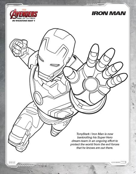 Captin America Avengers Age of Ultron free coloring page free ... | 576x452