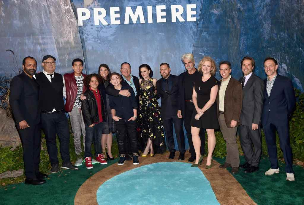 """HOLLYWOOD, CA - NOVEMBER 17: (L-R) Actor Jeffrey Wright, director Peter Sohn, actors Marcus Scribner and Jack Bright, producer Denise Ream, actor Raymond Ochoa, executive producer John Lasseter and actors Anna Paquin, A.J. Buckley, and Sam Elliott, screenwriter Meg LeFauve, executive producer of """"The Good Dinosaur"""" Lee Unkrich and Composers Jeff Danna and Mychael Danna attend the World Premiere Of Disney-Pixar's THE GOOD DINOSAUR at the El Capitan Theatre on November 17, 2015 in Hollywood, California. (Photo by Alberto E. Rodriguez/Getty Images for Disney) *** Local Caption *** Jeffrey Wright; Peter Sohn; Denise Ream; Raymond Ochoa; John Lasseter; Anna Paquin; Sam Elliott; Meg LeFauve; Lee Unkrich; Jack Bright; Marcus Scribner; A.J. Buckley; Jeff Danna; Mychael Danna"""