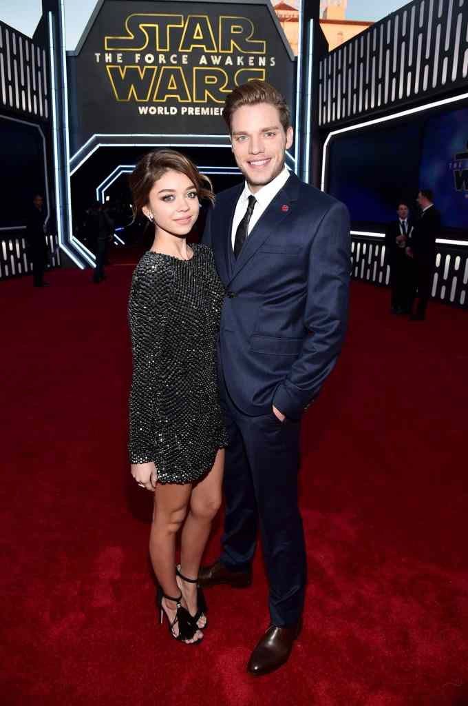 HOLLYWOOD, CA - DECEMBER 14: Actors Sarah Hyland (L) and Dominic Sherwood attend the World Premiere of ?Star Wars: The Force Awakens? at the Dolby, El Capitan, and TCL Theatres on December 14, 2015 in Hollywood, California. (Photo by Alberto E. Rodriguez/Getty Images for Disney) *** Local Caption *** Sarah Hyland;Dominic Sherwood