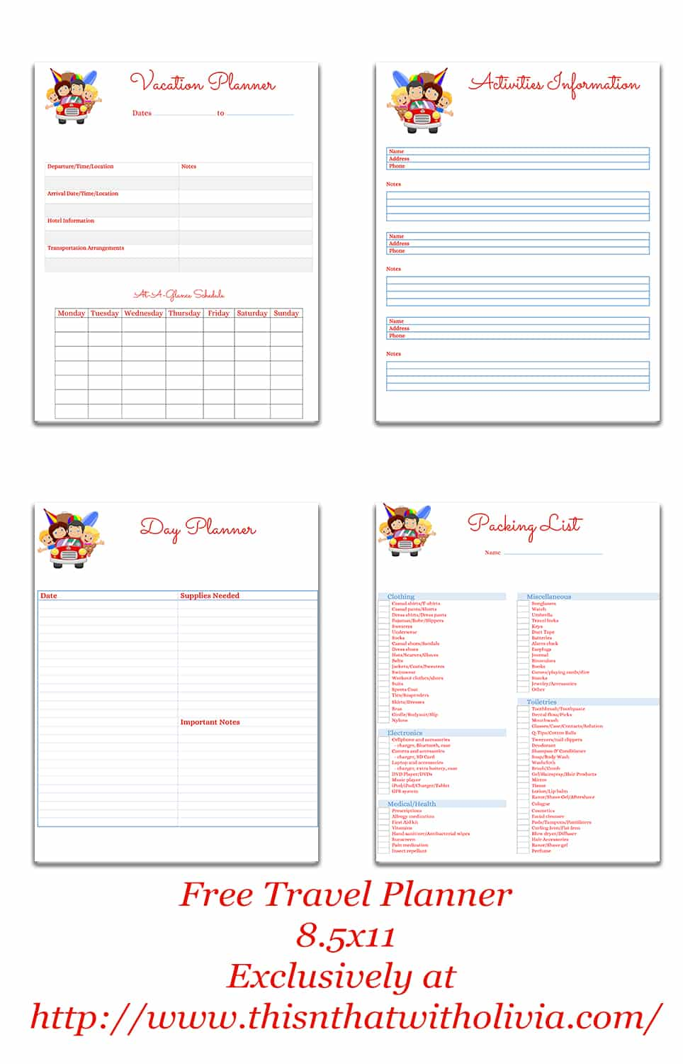 free printable vacation planner vacation