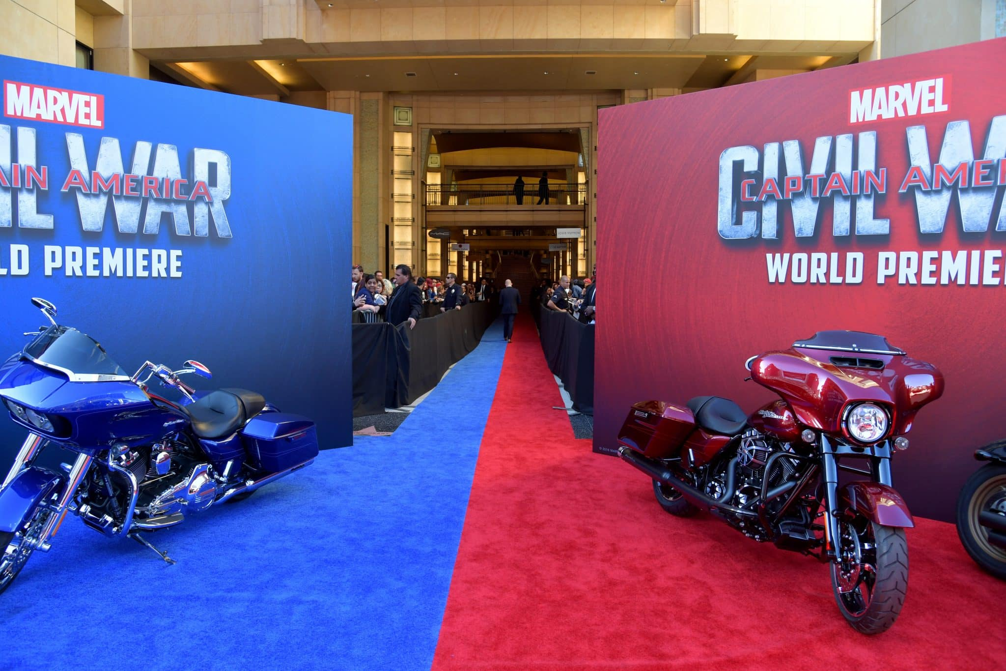 """HOLLYWOOD, CALIFORNIA - APRIL 12: Signage and displays are seen during The World Premiere of Marvel's """"Captain America: Civil War"""" at Dolby Theatre on April 12, 2016 in Los Angeles, California. (Photo by Lester Cohen/Getty Images for Disney)"""