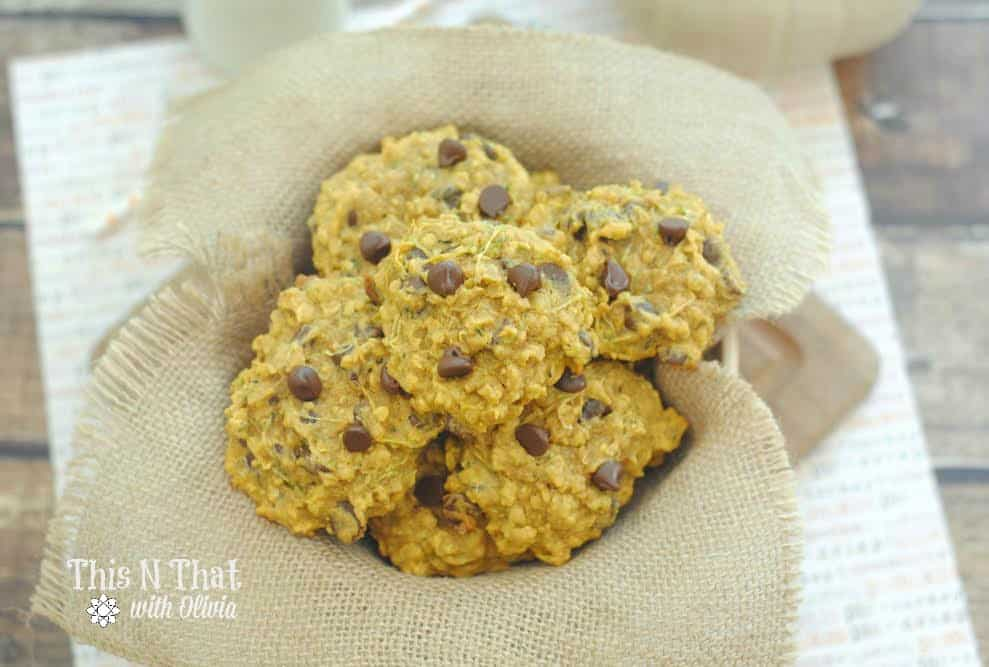 Pumpkin Zucchini Chocolate Chip Oatmeal Cookies | ThisNThatwithOlivia.com