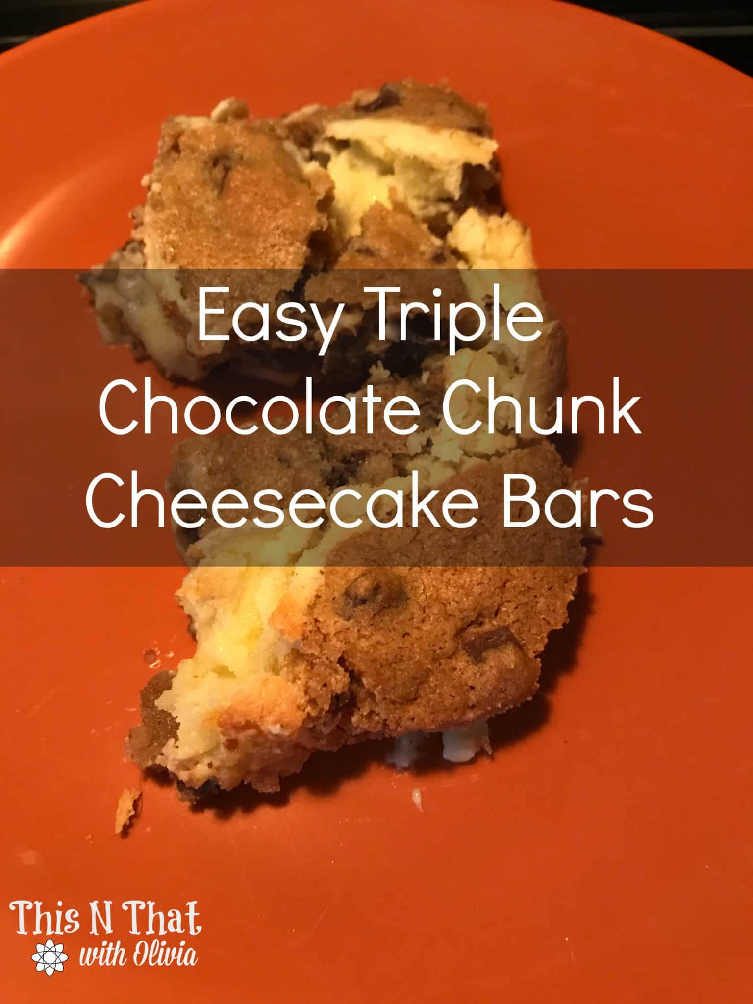 Easy Triple Chocolate Chunk Cheesecake Bars @Krusteaz