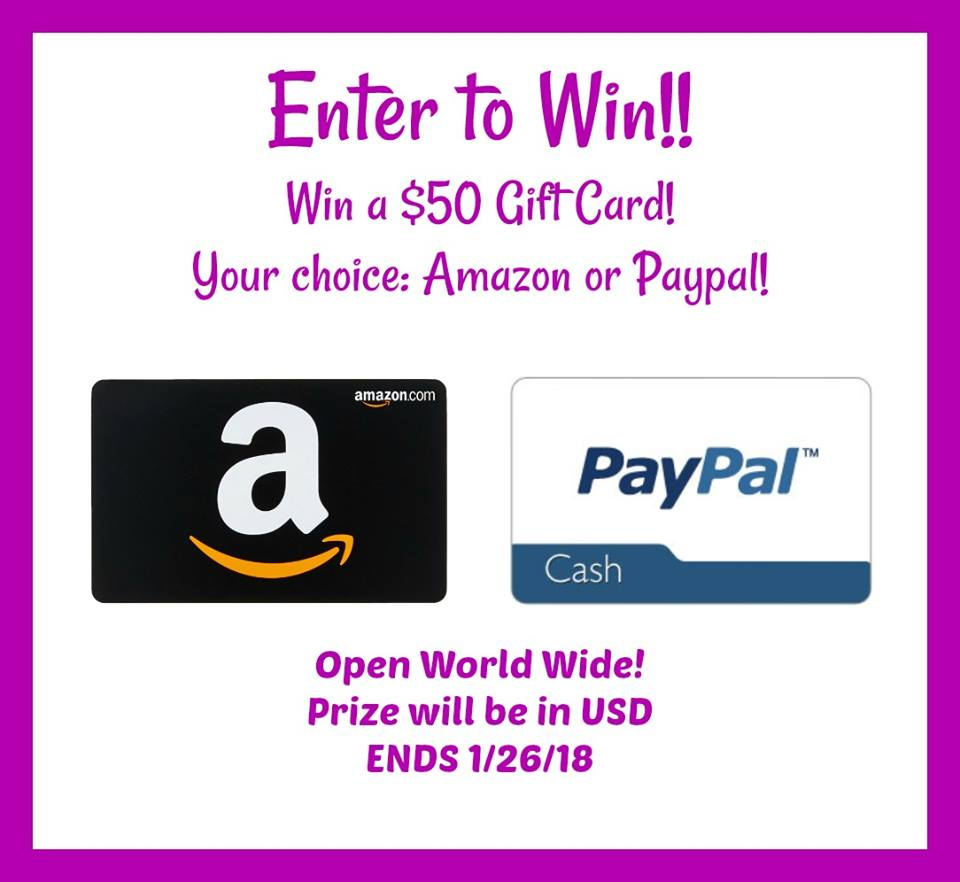 1d385ebf4d766e Enter to Win a  50 Amazon Gift Card or PayPal -- Ends 1 26